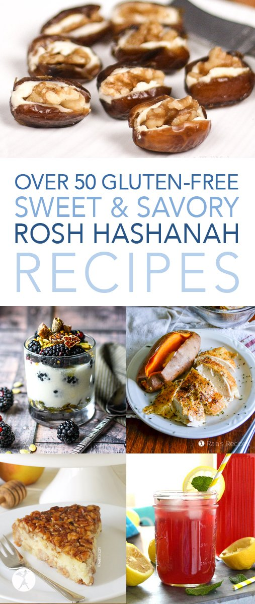 Over 50 gluten-free sweet and savory Rosh Hashanah recipes! All you'll ever need for a delightful and delicious celebration. #roshhashanah #glutenfree #jewishnewyear #newyear #holyday #figs #pomegranates #apples #honey #recipes #glutenfreerecipes