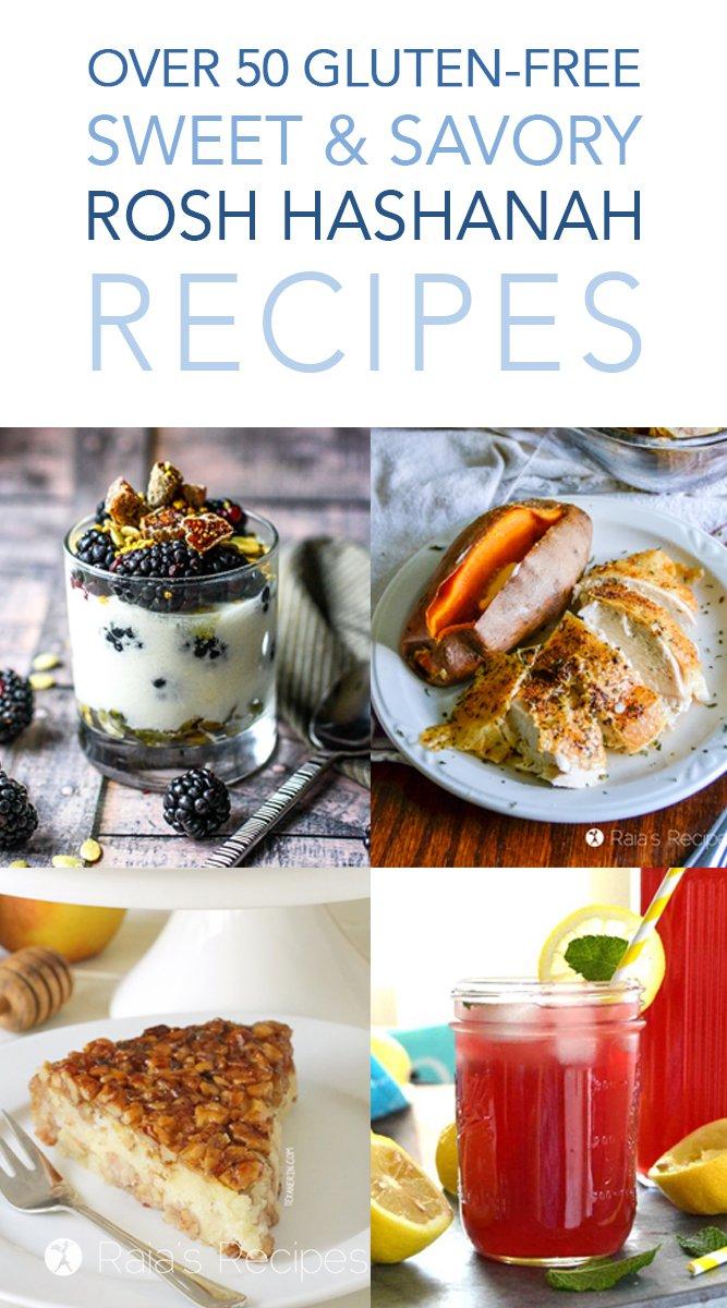 Over 50 Gluten-Free Sweet & Savory Rosh Hashanah Recipes #roshhashanah #glutenfree #jewishnewyear #newyear #holyday #figs #pomegranates #apples #honey #recipes #glutenfreerecipes