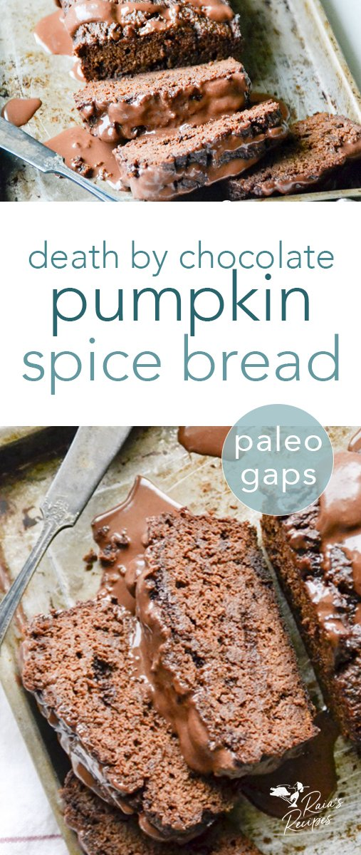 Paleo and GAPS-friendly, this Death by Chocolate Pumpkin Spice Bread with Coconut Cream Ganache is the perfect blend of fall flavors and dark chocolate love. #darkchocolate #pumpkin #pumpkinspice #chocolate #paleo #gapsdiet #healthydessert #bread #sweetbread #glutenfree #dairyfree