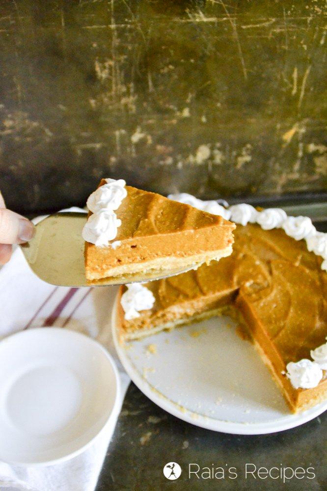 a slice of honey orange pumpkin pie from raiasrecipes.com