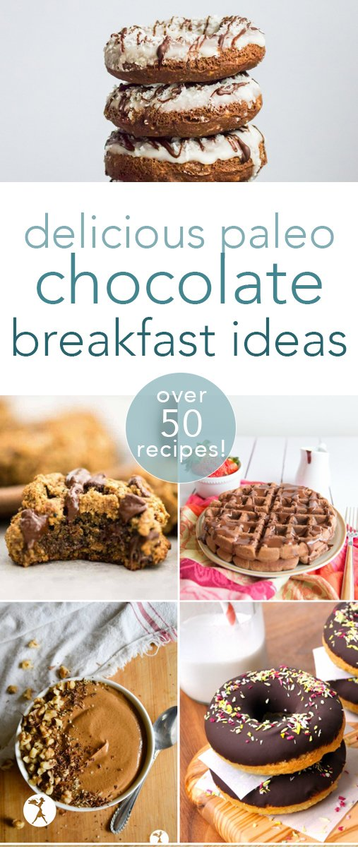 Ever feel guilty indulging in chocolate for breakfast? No need! I've got over 50 healthy ways to enjoy chocolate for breakfast - completely grain-free, and refined sugar-free, too! So go ahead... dig in.  #chocolate #breakfast #paleo #glutenfree #waffles #muffins #smoothie #breakfastcookies