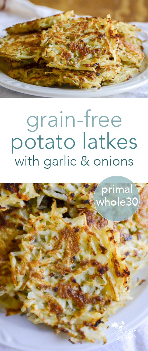 These grain-free potato latkes are a delicious savory treat! Loaded with onions and garlic, and fried to perfection. They're delicious as-is, or with a fried egg on top! Perfect for Hanukkah, or breakfast... #latkes #potatoes #grainfree #paleo #primal #realfood #onions #garlic #hanukkah #kosher #whole30