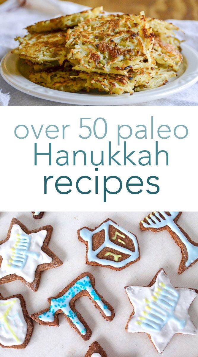 From breakfast to dessert, you'll love spending 8 days celebrating with these delicious paleo Hanukkah recipes! #paleo #hanukkah #kosher #holydays #festivaloflights #realfood #glutenfree #dairyfree