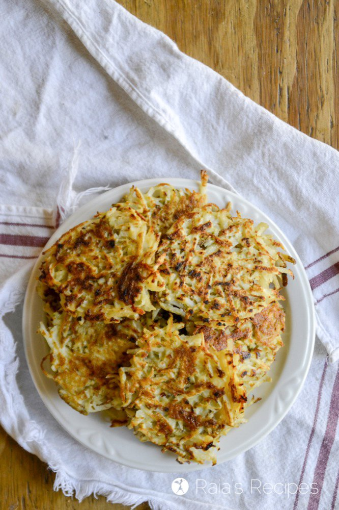 plate of grain-free potato latke from raiasrecipes.com