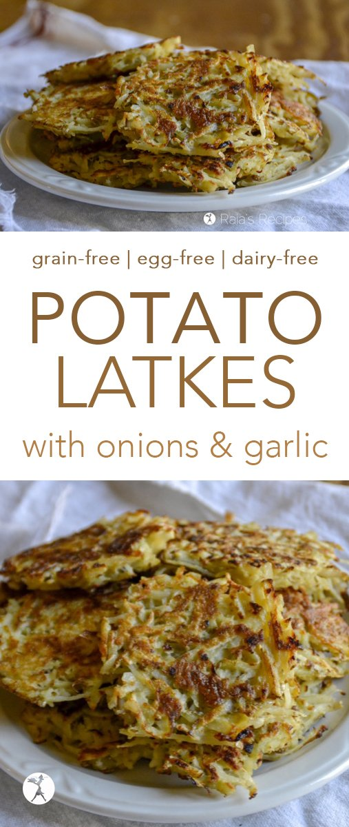 These grain-free potato latkes are a delicious savory treat! Loaded with onions and garlic, and fried to perfection. They're delicious as-is, or with a fried egg on top! Perfect for Hanukkah, or breakfast... #latkes #potatoes #grainfree #paleo #primal #realfood #onions #garlic #hanukkah #kosher