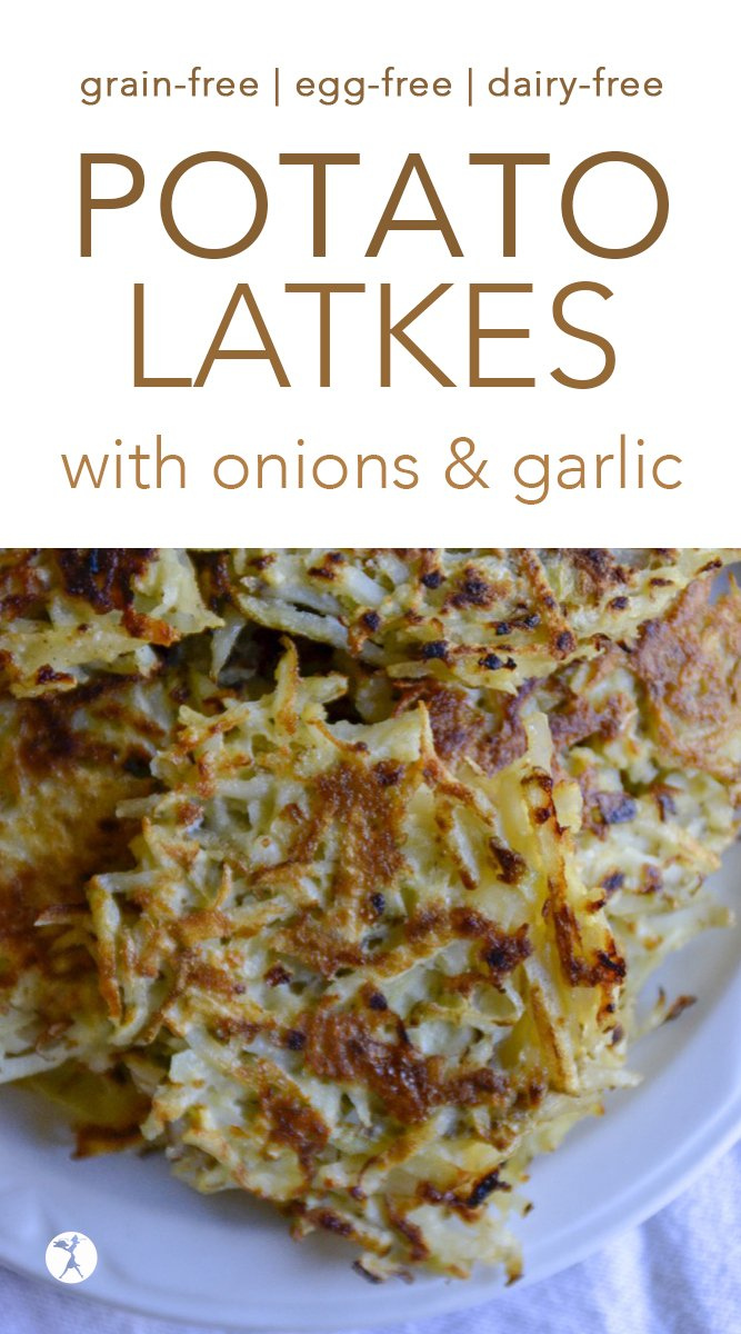 Grain-Free Potato Latkes with onions and garlic #latkes #potatoes #grainfree #paleo #primal #realfood #onions #garlic #hanukkah #kosher