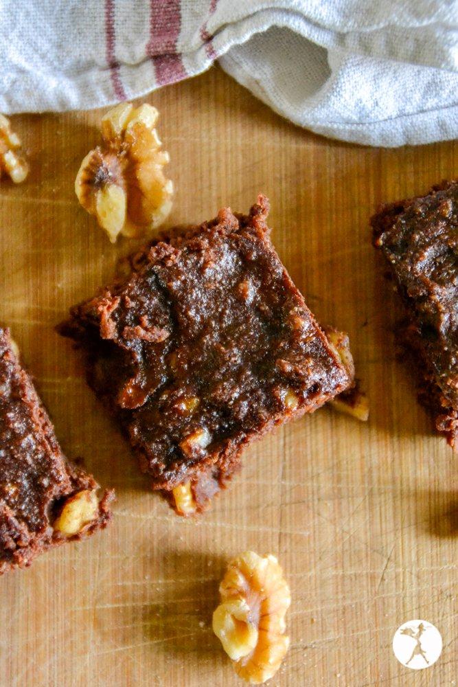 Top shot of carob walnut brownies from raiasrecipes.com