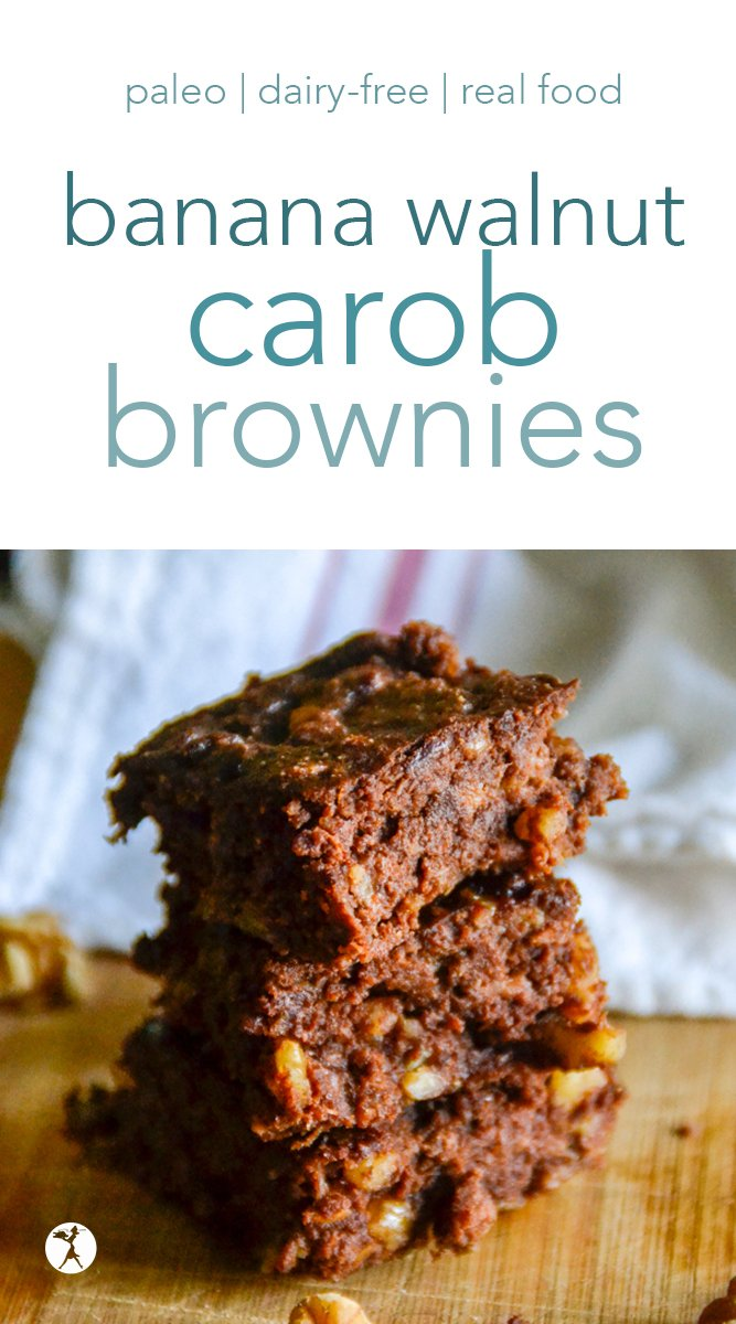 Fudgy and healthy, these Banana Walnut Carob Brownies are a delicious paleo treat even chocolate-lovers will enjoy! With only a few real food ingredients, they're easy to whip up and easy to devour. #carob #walnut #brownies #banana #paleo #glutenfree #dairyfree #refinedsugarfree #realfood
