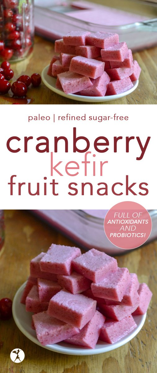 Tart and tasty, these Cranberry Kefir Fruit Snacks are a delicious way to get some much-needed nutrients in to kiddos... or parents! #cranberry #waterkefir #fruitsnacks #gummies #antioxidants #probiotics #honeysweetened #paleo #realfood #glutenfree