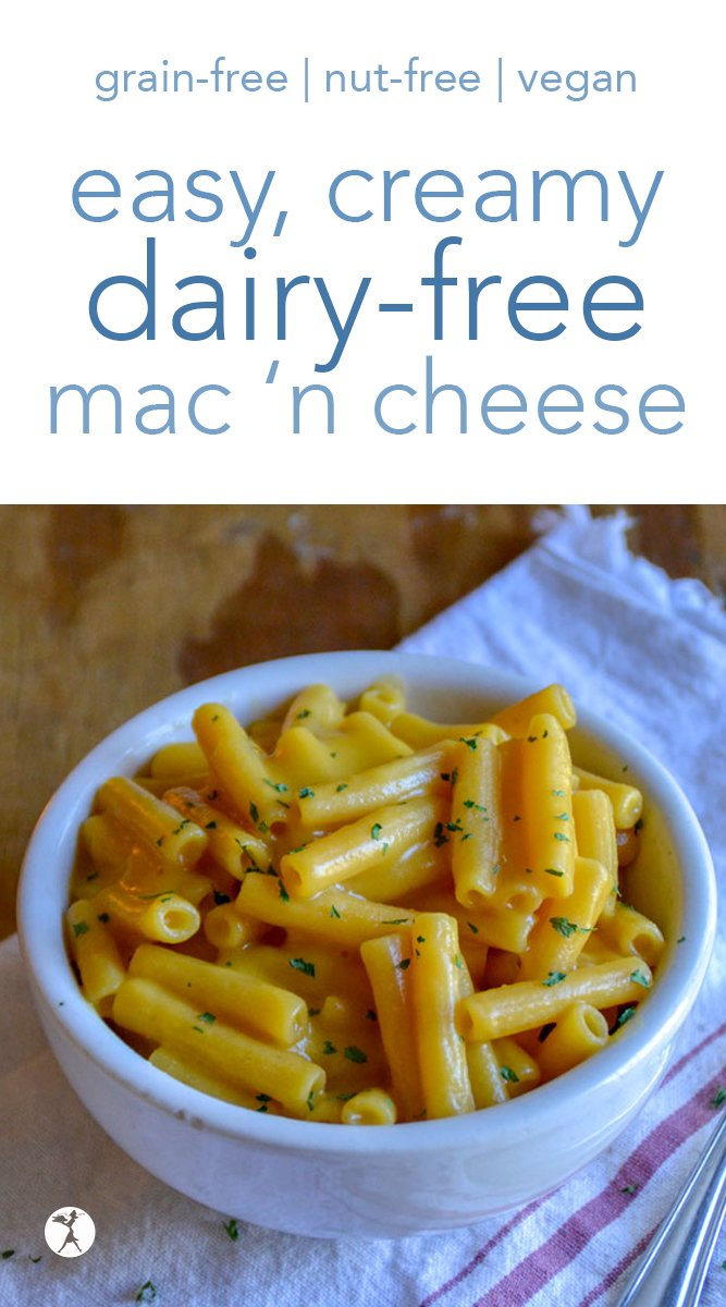 Dairy-free? Vegan? Missing mac 'n cheese? This Easy, Creamy Dairy-Free Macaroni and Cheese is what you need! It's so good, you'll cry... #dairyfree #grainfree #glutenfree #eggfree #vegan #realfood #macaroniandcheese #macncheese #pasta #lunch