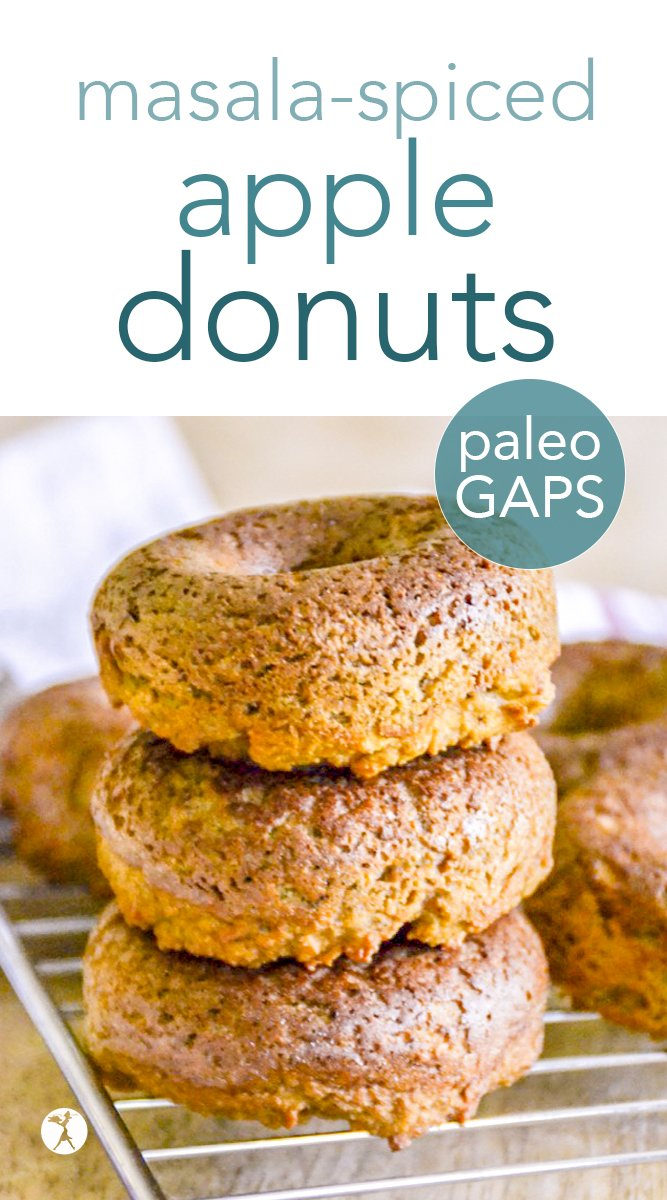 Full of sweet exotic flavor and nutrition, these masala-spiced apple donuts are the perfect breakfast for anyone on a grain-free, refined sugar-free lifestyle! #masala #apple #donuts #doughtnuts #paleo #gapsdiet #dessert #glutenfree