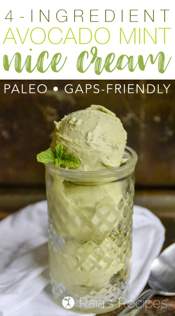 4-Ingredient Avocado Mint Nice Cream  #paleo #gapsdiet #glutenfree #dairyfree #realfood #eggfree #avocado #mint #icecream #nicecream