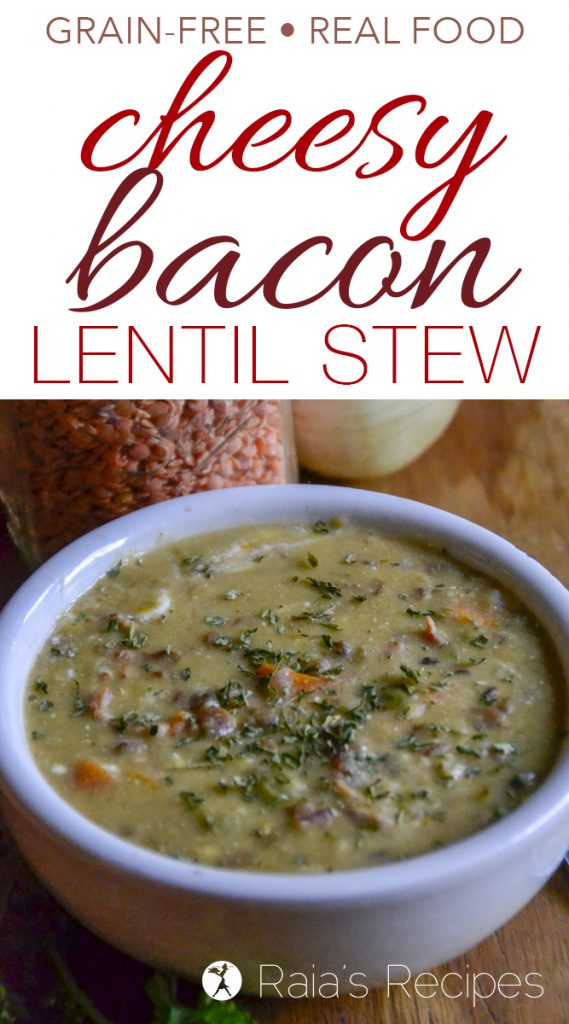 Full of comforting flavors, warmth, and packed with nutrition, this Cheesy Bacon Lentil Stew is a delicious meal the whole family will enjoy.