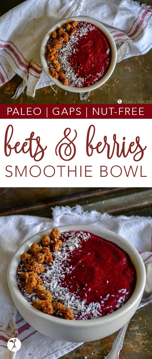 Bursting with color, flavor, and nutrition, this gorgeous paleo and GAPS-friendly Beets & Berries Smoothie Bowl is the perfect breakfast or midday pick-me-up.  #breakfast #smoothie #smoothiebowl #paleo #gapsdiet #realfood #glutenfree #nutfree #berries #beets