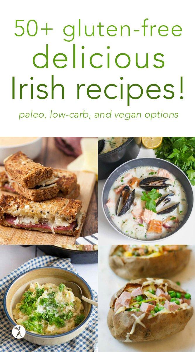 Whether you're Irish or not, you'll love these delicious gluten-free Irish dishes! #glutenfree #irish #irishfood #vegan #paleo #lowcarb #recipes