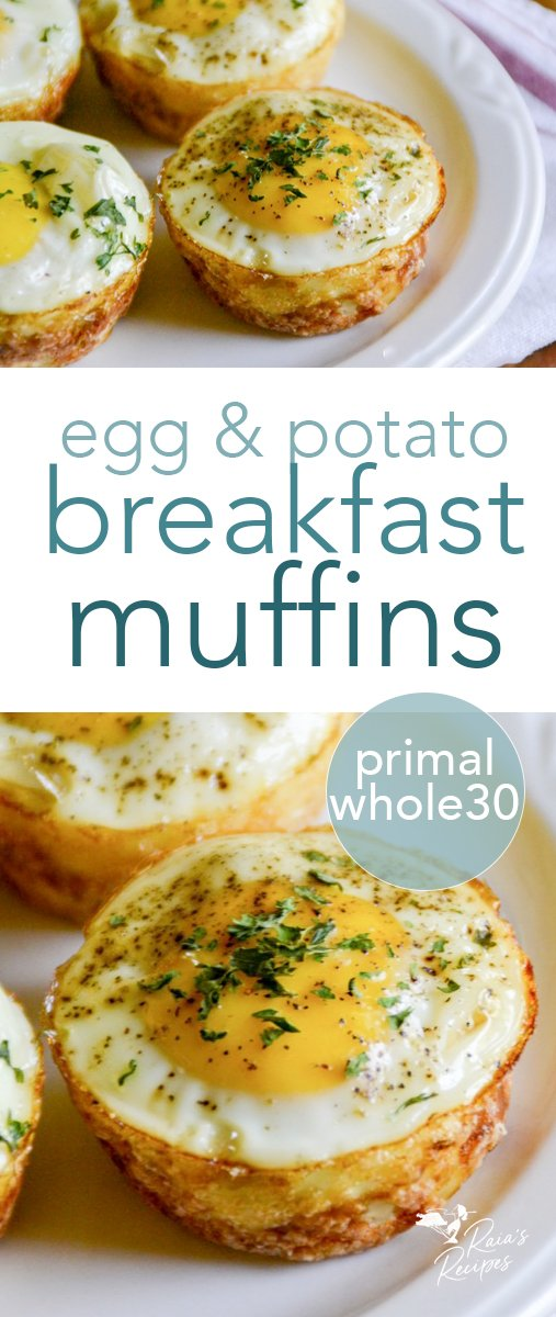 Need an easy, grab-n-go breakfast? These gluten-free egg & potato breakfast muffins are for you! They're hand-held, grain-free, and Whole30!  #glutenfree #eggs #potatoes #breakfast #muffins #whole30 #realfood #kids #primal