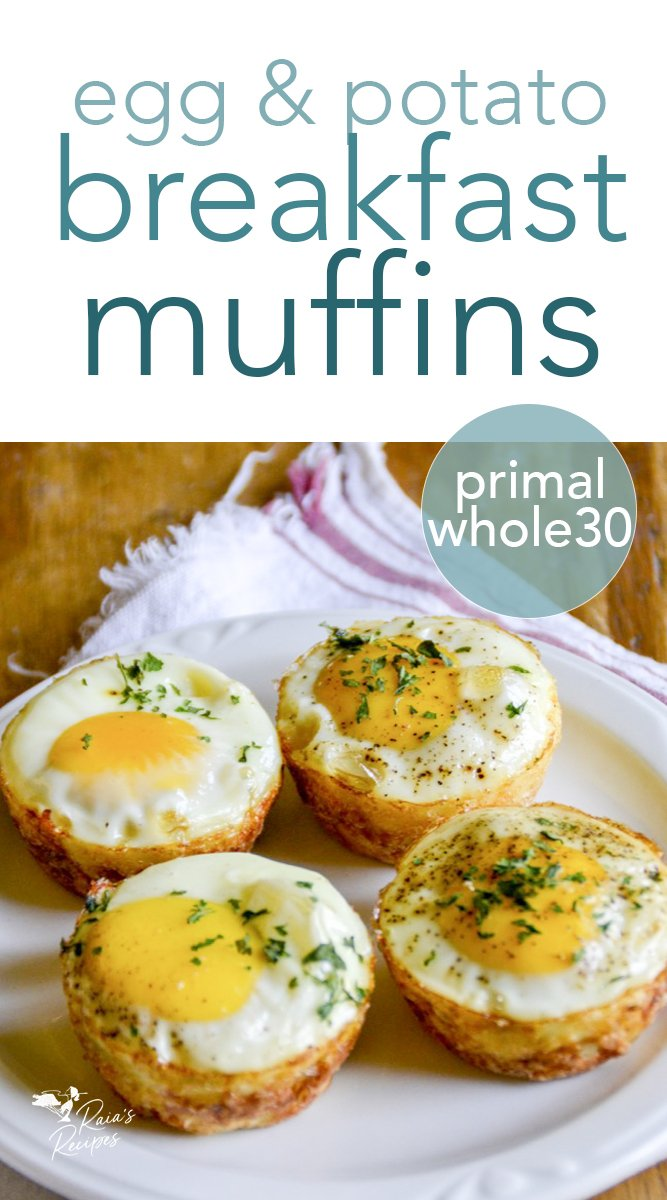 Need an easy, grab-n-go breakfast? These gluten-free egg & potato breakfast muffins are for you!  #glutenfree #eggs #potatoes #breakfast #muffins #whole30 #realfood #kids #primal