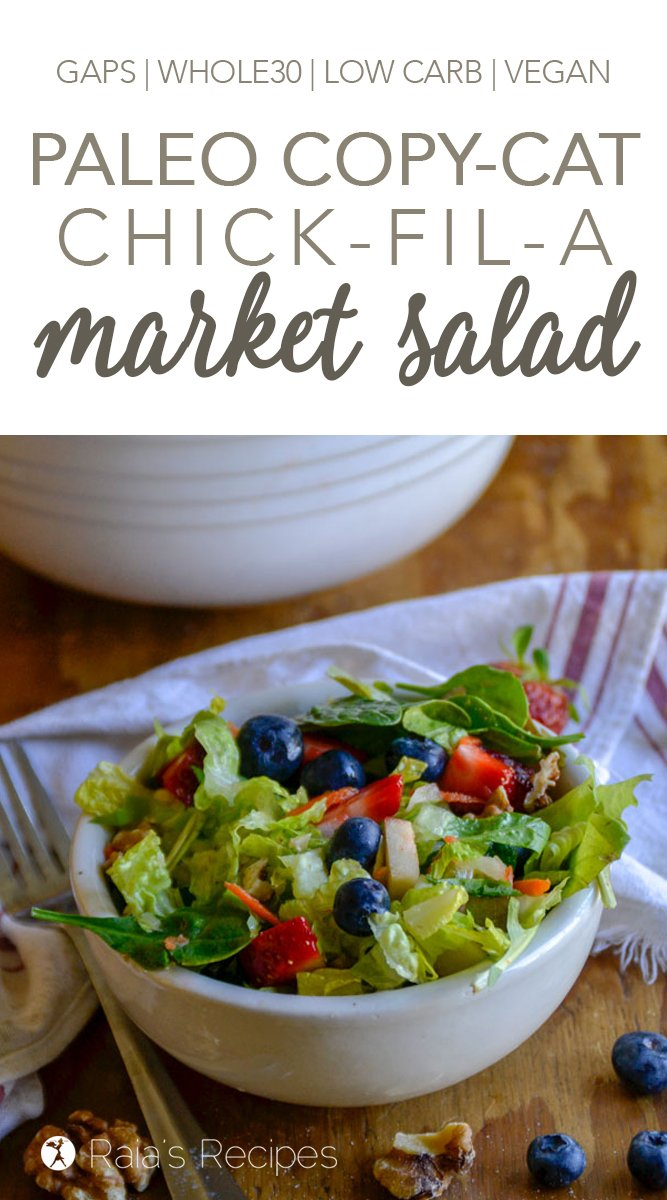 Copy-Cat Chick-Fil-A Market Salad #paleo #gapsdiet #whole30 #lowcarb #vegan #vegetarian #salad #chickfila #spinach #berries #healthy