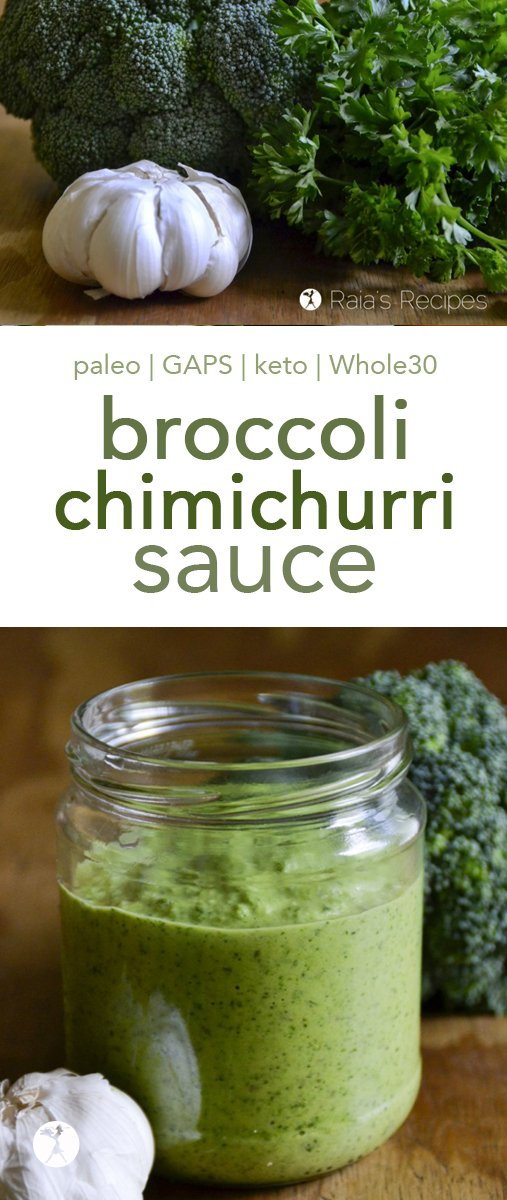 Love chimichurri? This easy and delicious paleo Broccoli Chimichurri Sauce is a tasty twist on the favorite sauce. It goes great on tacos, steak, or even as a veggie dip or salad dressing! #broccoli #chimichurri #condiments #grainfree #paleo #whole30 #keto #lowcarb #gapsdiet #vegan