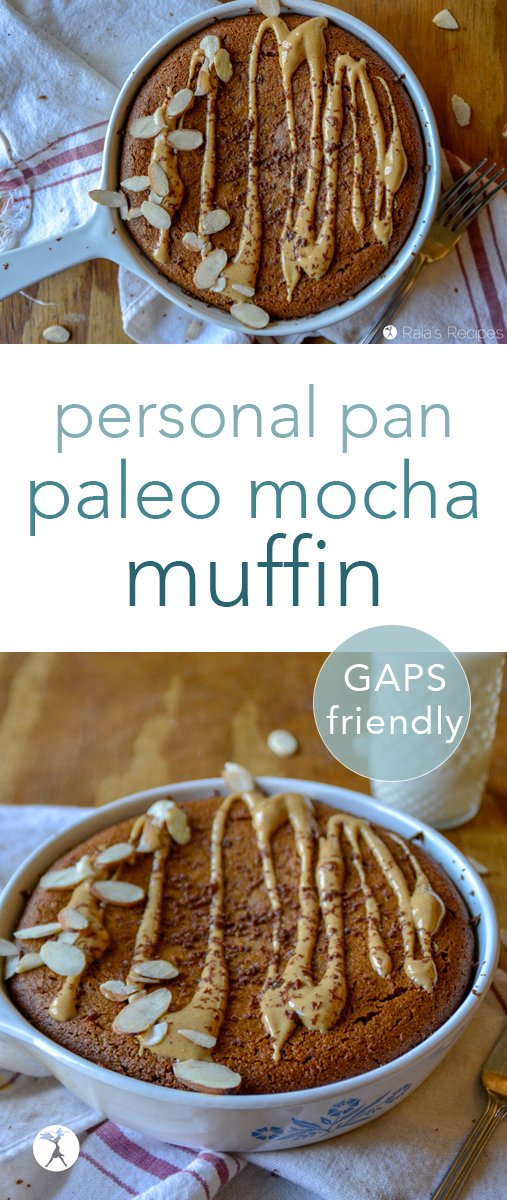 New favorite breakfast alert! If you love coffee, chocolate, and not having to share muffins, this personal pan paleo mocha muffin is for you. #paleo #GAPSdiet #realfood #breakfast #mocha #almondflour #muffins #personalpan