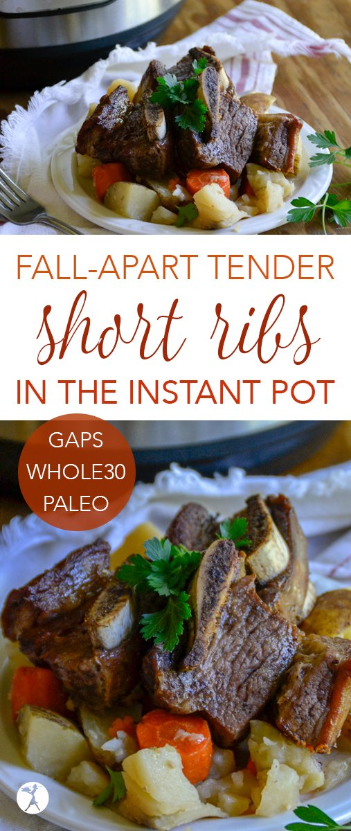 No need to stress about prep with these easy and delicious Fall Apart Tender Short Ribs in the Instant Pot! Plus they're Whole30, paleo, and GAPS-friendly, too. #instantpot #shortribs #beef #paleo #primal #whole30 #gapsdiet #glutenfree #dairyfree