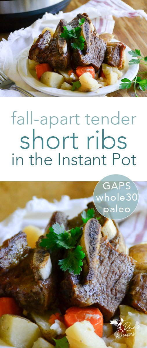 No need to stress about prep with these easy and delicious fall-apart tender short ribs in the Instant Pot! Plus they're Whole30, paleo, and GAPS-friendly, too.  #instantpot #shortribs #beef #paleo #primal #whole30 #gapsdiet #glutenfree #dairyfree