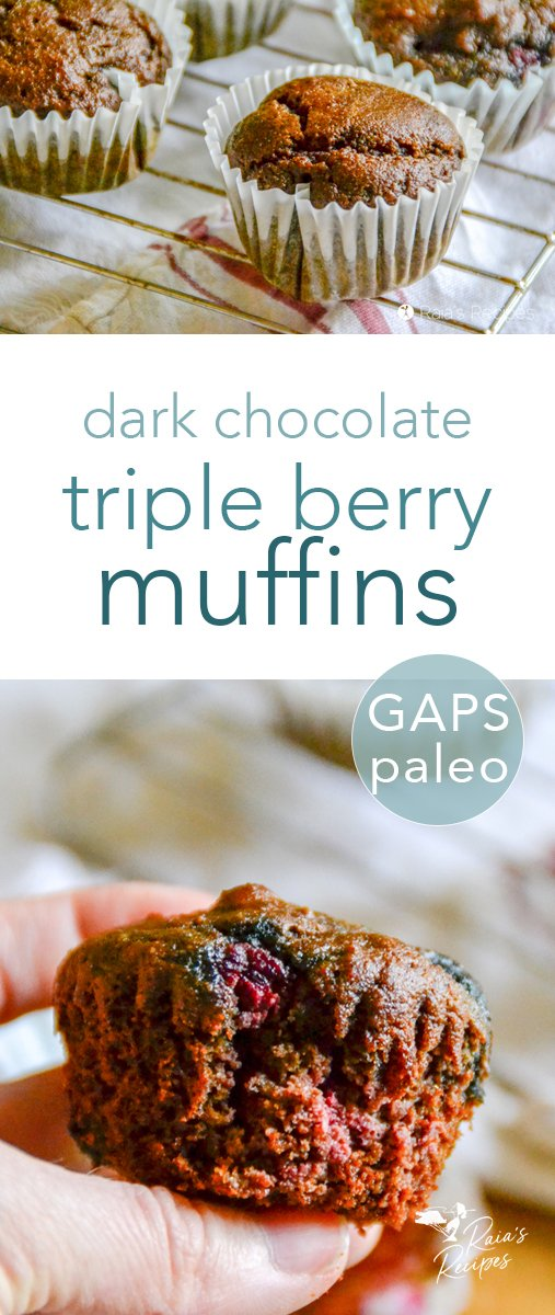 You don't have to be a breakfast person to enjoy these paleo, GAPS-friendly dark chocolate triple berry muffins! They taste delicious any time of day! #darkchocolate #berries #muffins #paleo #gapsdiet #chocolate #breakfast #bakedgoods