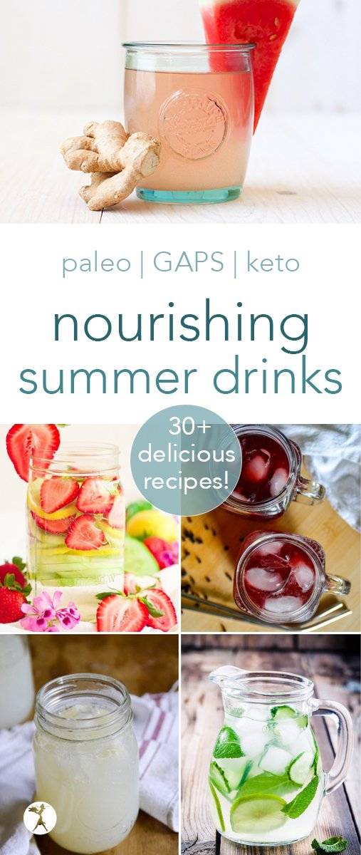 Summer's right around the corner and we need all the healthy drinks, am I right? Let me help you get started with these delicious paleo drinks to keep you refreshed and nourished! #drinks #paleo #glutenfree #keto #lowcarb #dairyfree #nonalcoholic #summer #healthy