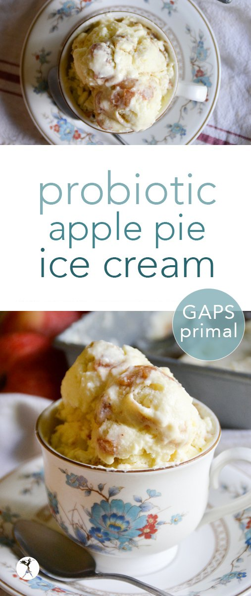 No need to feel guilty enjoying this treat! Full of nutrients, and easy to whip up, this probiotic apple pie ice cream is perfect for any time of year! #probiotic #apple #applepie #icecream #primal #gapsdiet #healthy #fall