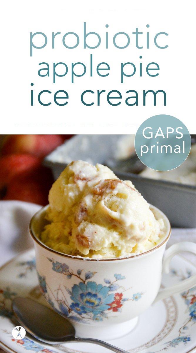 Probiotic apple pie ice cream with honey-apple compote #probiotic #apple #applepie #icecream #primal #gapsdiet #healthy #fall