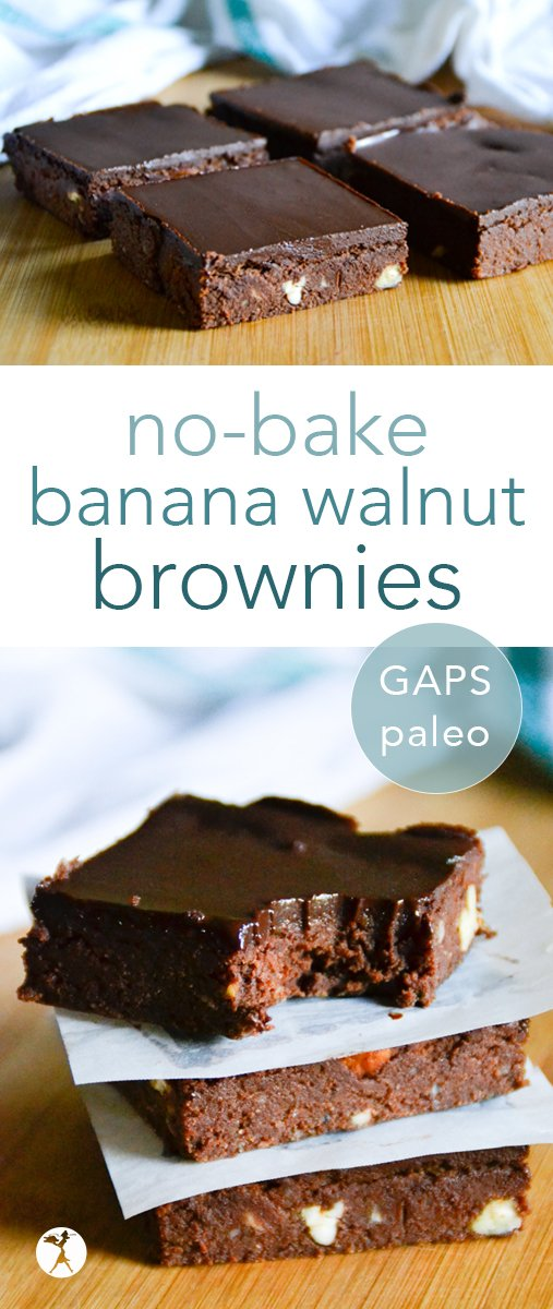 These paleo and GAPS diet-friendly no-bake banana walnut brownies are perfect for when you're craving a treat, but it's still too hot to turn on the oven! #nobake #paleo #banana #walnut #brownies #gapsdiet #realfood #dessert #healthy #rawfood #dairyfree #refinedsugarfree