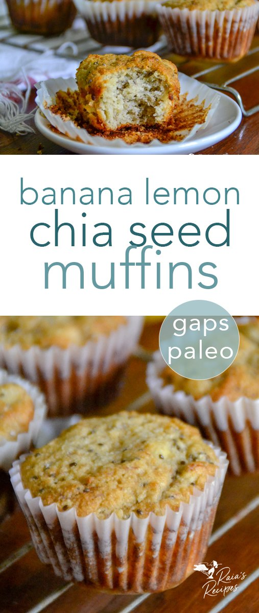 These paleo and GAPS diet-friendly banana lemon chia seed muffins will brighten up any day with their perfect muffiny texture and delicious flavor! #banana #lemon #chiaseed #muffins #paleo #fullgapsdiet #breakfast #glutenfree