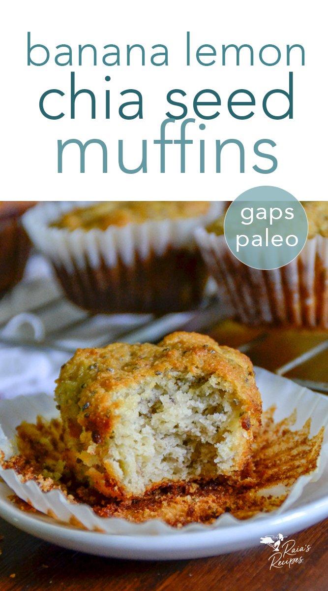 Banana Lemon Chia Seed Muffins  #banana #lemon #chiaseed #muffins #paleo #fullgapsdiet #breakfast #glutenfree