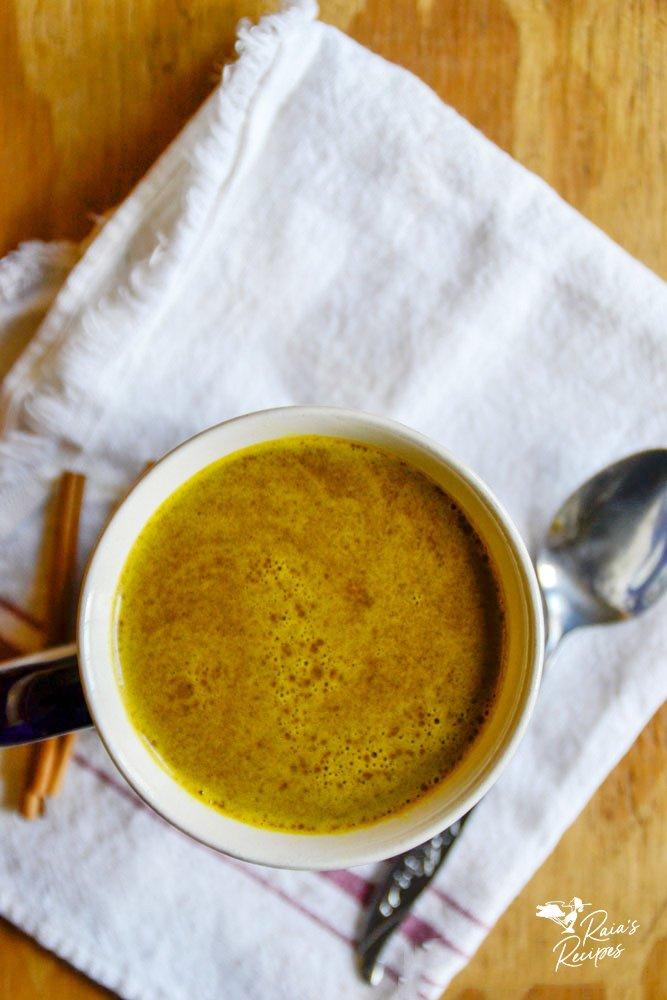 top shot of golden milk hot cocoa from raiasrecipes.com