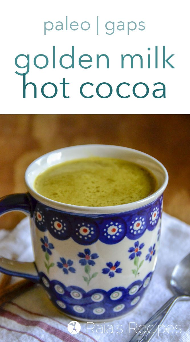 Spice up your hot cocoa life and nourish yourself at the same time with this delicious golden milk hot cocoa. It's fully paleo and GAPS-friendly, and a fun way to introduce anti-inflammatory goodness to your diet! #paleo #gapsdiet #realfood #dairyfree #antiinflammatory #goldenmilk #turmeric #drinks #nourishing #healthy #comforting