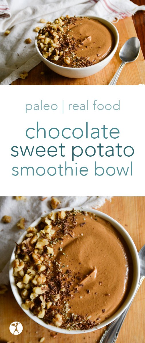 The perfect blend of summer and fall, this paleo Chocolate Sweet Potato Smoothie Bowl is brimming with flavor and healthy enough for a nutritious and delicious breakfast! #chocolate #sweetpotato #smoothie #smoothiebowl #breakfast #glutenfree #dairyfree #eggfree #nourishing #healthy #realfood
