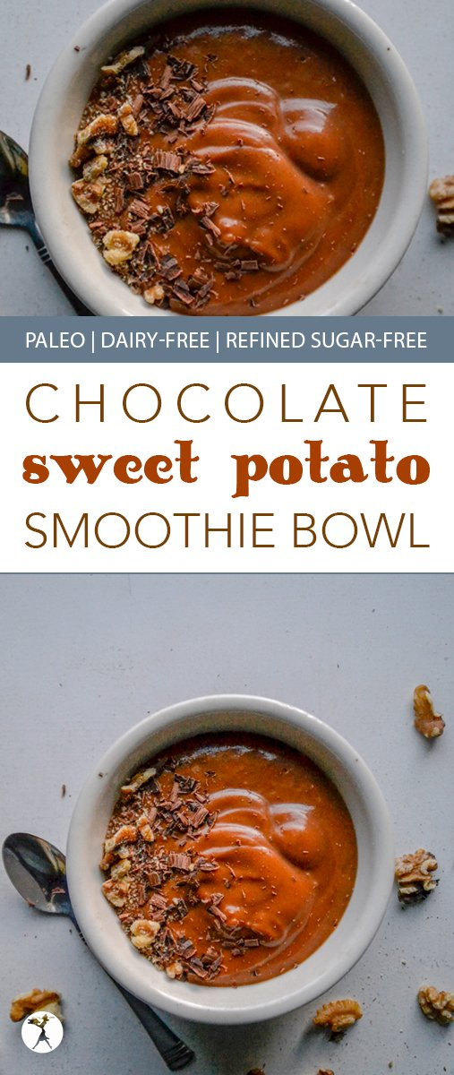 The perfect blend of summer and fall, this paleo Chocolate Sweet Potato Smoothie Bowl is brimming with flavor and healthy enough for a nutritious and delicious breakfast! #smoothiebowl #sweetpotato #chocolate #paleo #dairyfree #glutenfree #eggfree #refinedsugarfree