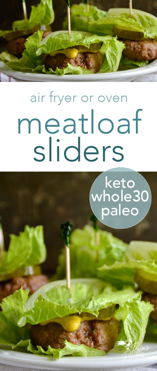 Juicy, delicious, and surprisingly easy, these paleo meatloaf sliders are a fun way to switch up a classic meal.  #paleo #keto #whole30 #meatloaf #sliders #airfryer #lunch #appetizer #gameday #tailgating
