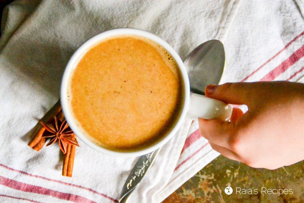Grabbing a cup of pumpkin chai latte from raiasrecipes.com