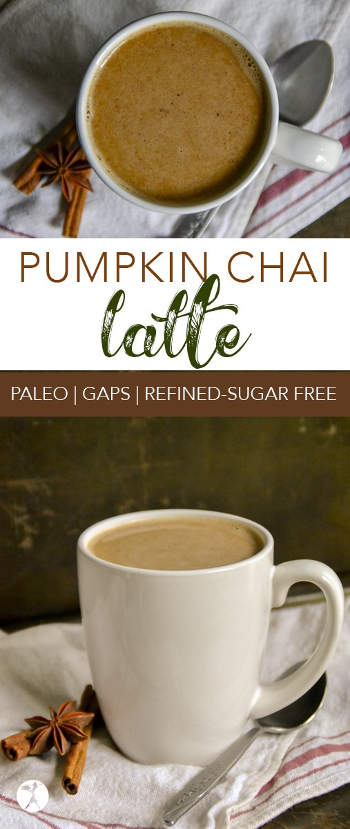 Comforting, warm, and healthy, this paleo and refined-sugar free Pumpkin Chai Latte is the perfect way to begin a chilly day.