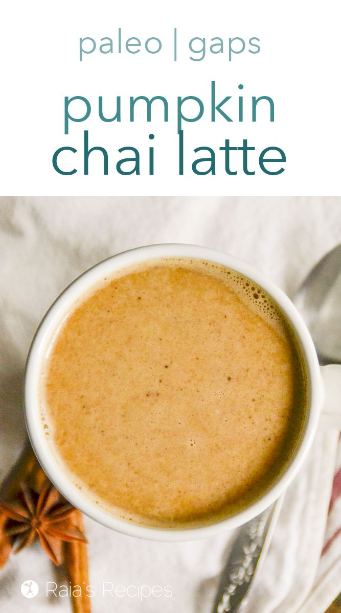 Comforting, warm, and healthy, this paleo and refined-sugar free pumpkin chai latte is the perfect way to begin a chilly day. It's simple and delicious and fits into the full GAPS diet, as well! #pumpkin #chai #latte #paleo #gapsdiet #drinks #nourishing #glutenfree #dairyfree