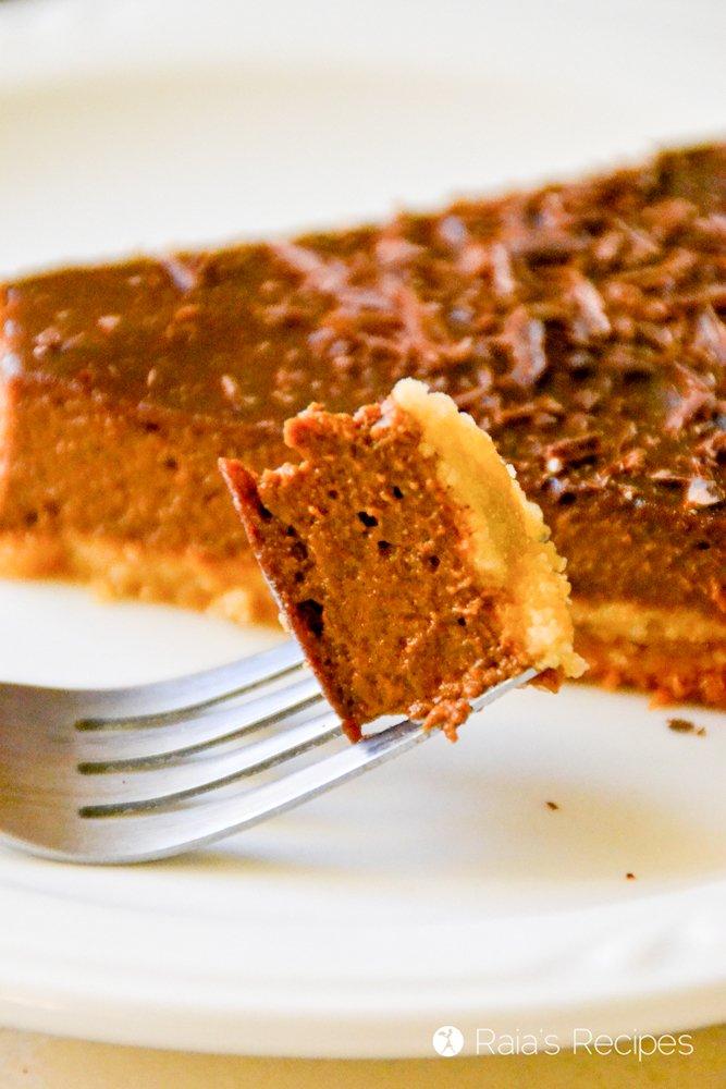 Bite of chocolate pumpkin pie from raiasrecipes.com