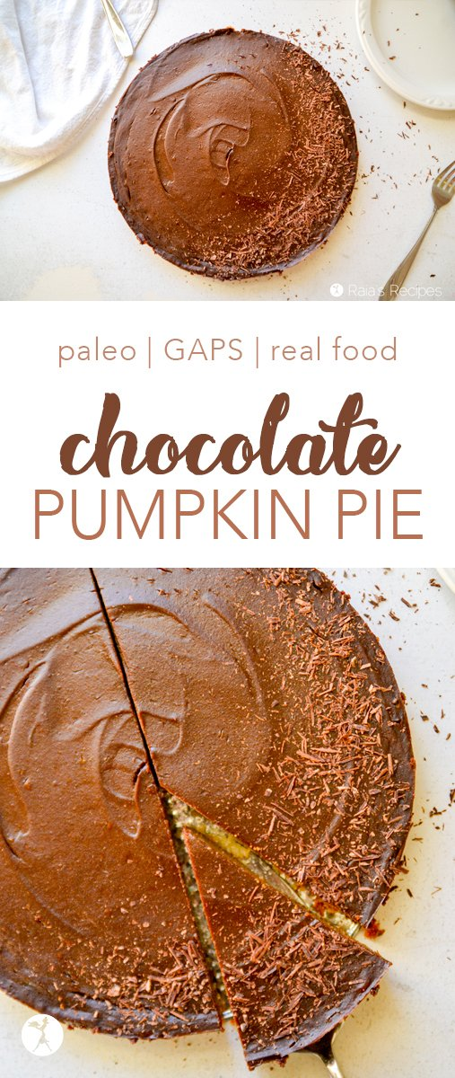 Love pumpkin pie? How about chocolate? This Chocolate Pumpkin Pie is for you. It's paleo and GAPS-friendly, and perfect for holiday get-togethers. #paleo #gapsdiet #grainfree #dairyfree #realfood #pumpkin #chocolate #pumpkinpie
