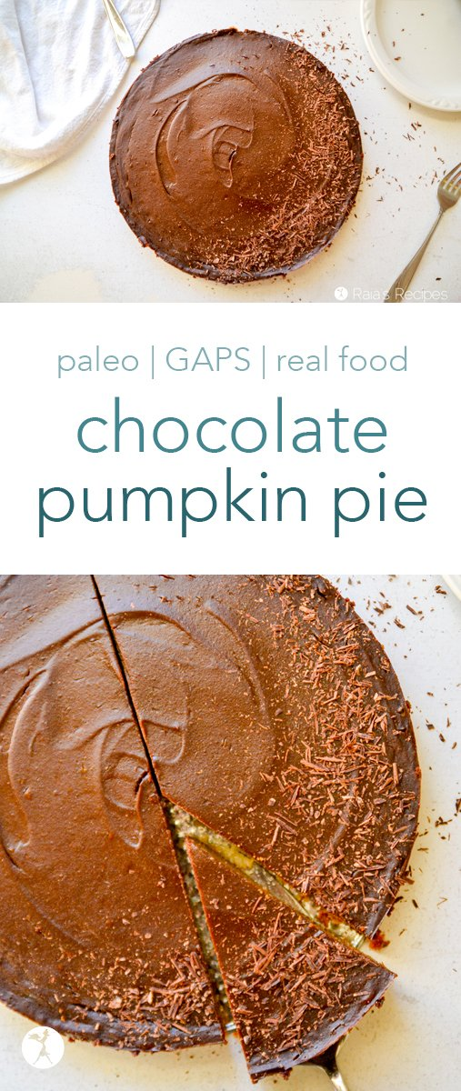 Love pumpkin pie? How about chocolate? This chocolate pumpkin pie is for you. It's paleo and GAPS-friendly, and perfect for holiday get-togethers. #paleo #glutenfree #dairyfree #gapsdiet #chocolate #pumpkin #pumpkinpie #dessert