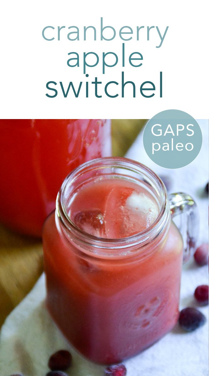 This festive cranberry apple switchel is an easy and delicious ferment - perfect for keeping your body healthy during the holidays and throughout the year! #paleo #gapsdiet #switchel #cranberry #apple #drinks #fermented #traditional #holiday