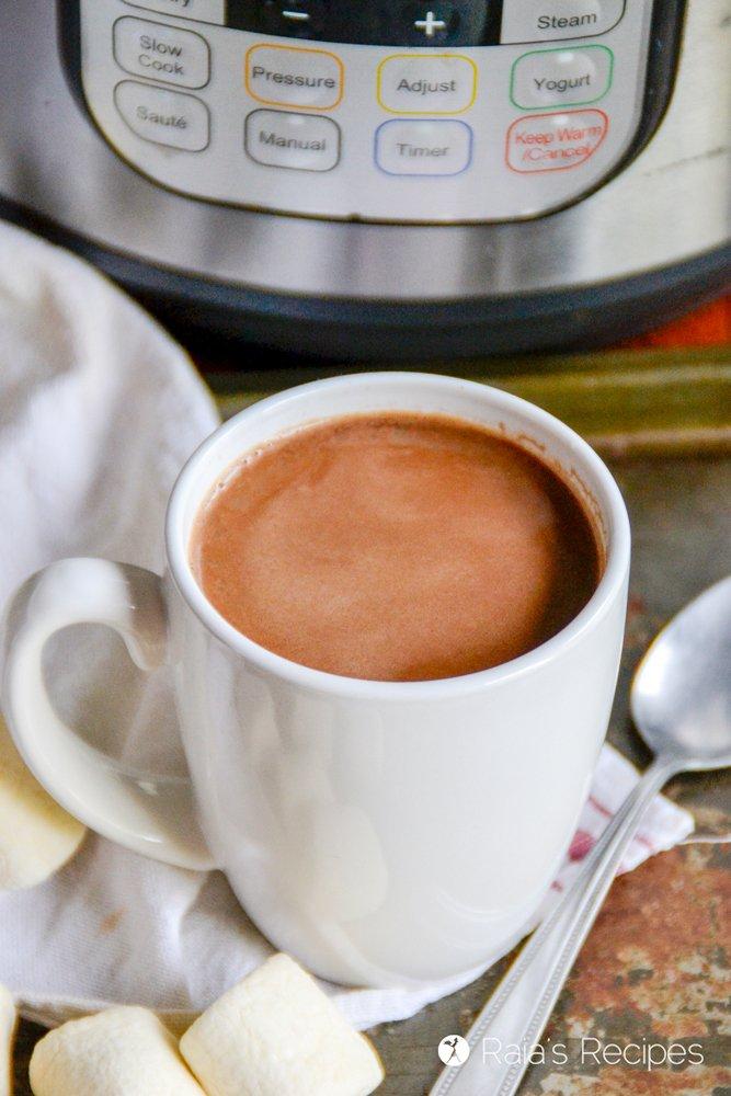 mug of instant pot hot cocoa from raiasrecipes.com