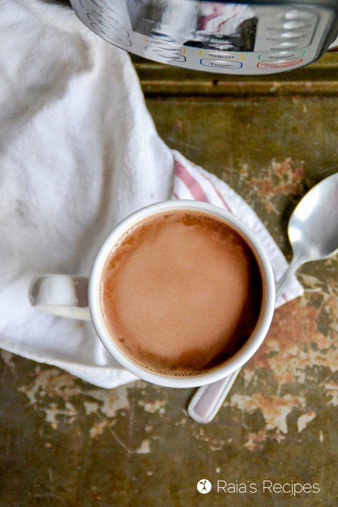 top shot of instant pot hot cocoa from raiasrecipes.com
