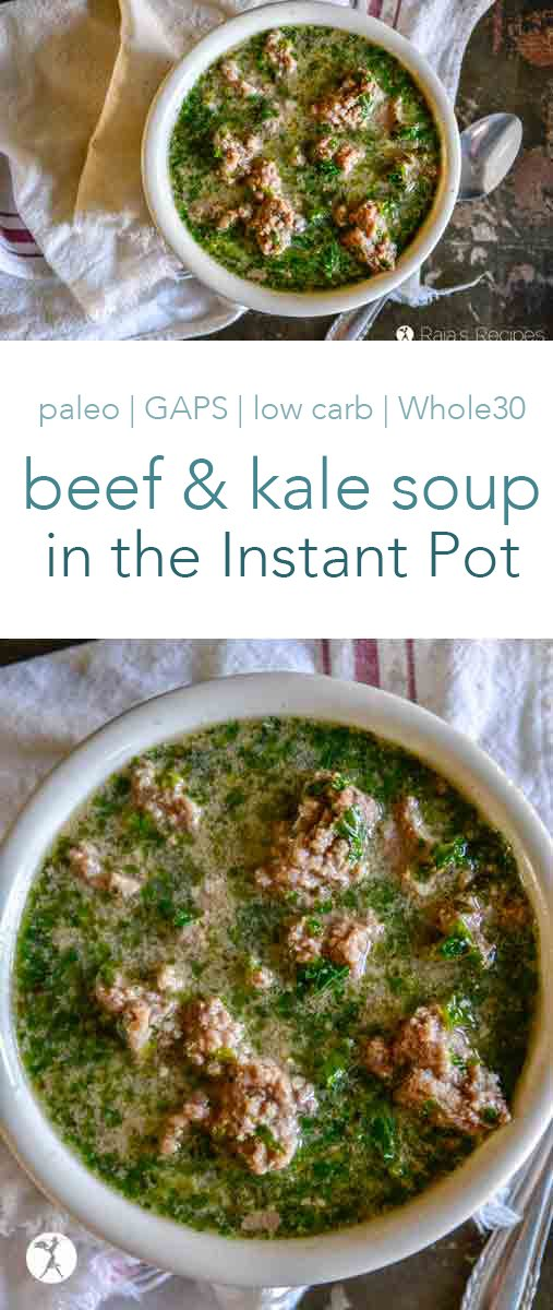 Warming and nutritious, this Beef & Kale Soup in the Instant Pot is a winner in my kitchen! The savory ingredients pared with the sweetness of coconut milk is delicious. And there's a touch of chili powder for an extra kick. It can fit into paleo, GAPS, keto, and whole30 diets, too! #soup #glutenfree #InstantPot #beef #kale #paleo #realfood #dairyfree #whole30 #lowcarb #keto