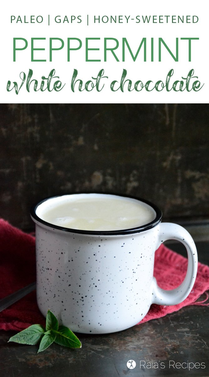 Paleo Peppermint White Hot Chocolate :: GAPS-friendly, honey-sweetened