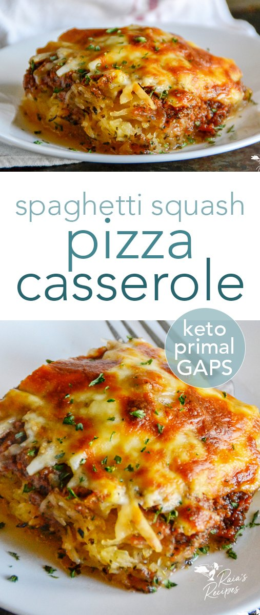 Easy and kid-friendly combine to make this spaghetti squash pizza casserole a win! It's naturally grain-free and low in carbs, too! #primal #keto #lowcarb #spaghettisquash #pizza #casserole #maindish #dinner #kidfriendly #glutenfree